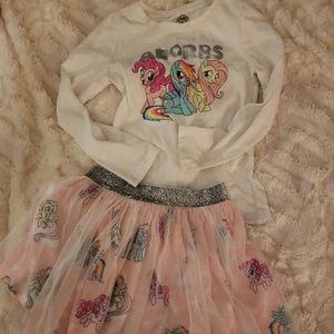 My Little Pony top and skirt set size 6 VGUC